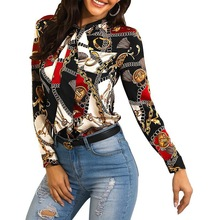 Shirt-Neckline Blouse Chain-Printing Fashion Long-Sleeved Ladies with Casual Models Explosion
