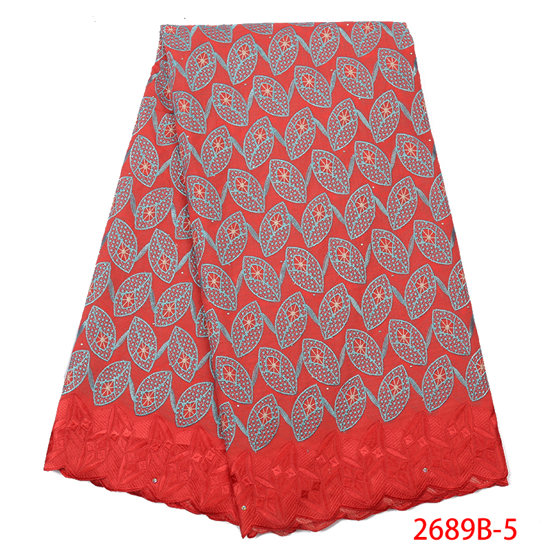 Latest Nigerian Lace Fabric 2019 High Quality Swiss Lace Fabric African Embroidered Cotton Laces With Stones KS2689B-5