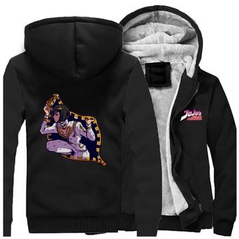 Funny Japanese Anime Jojo Anime Thicken Jacket Hoodies Men Jojo Bizarre Adventure Plus Size Hoodie Sportswear Hip Hop Streetwear