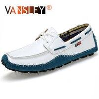 Men Casual Shoes Big Size Genuine Leather Men Shoes Soft Moccasins Brand Men Flats Comfy Driving Boat Shoes 38 47