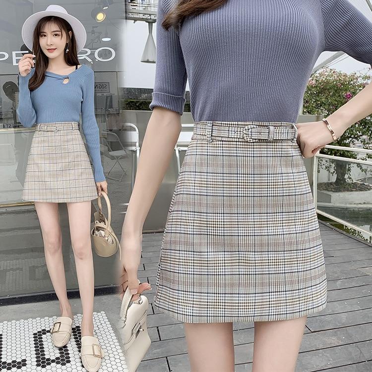 Belt Photo Shoot Plaid A- Line Skirt Women's Summer Korean-style Retro Elegant Versatile High-waisted Ge Wen Bao Hip Skirt