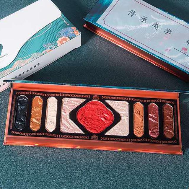 New Chinese Ancient Phoenix Embossed Eyeshadow Palette Palace Luxury Eye shadow Sequins Waterproof Eye Cosmetics Makeup Palettes 1