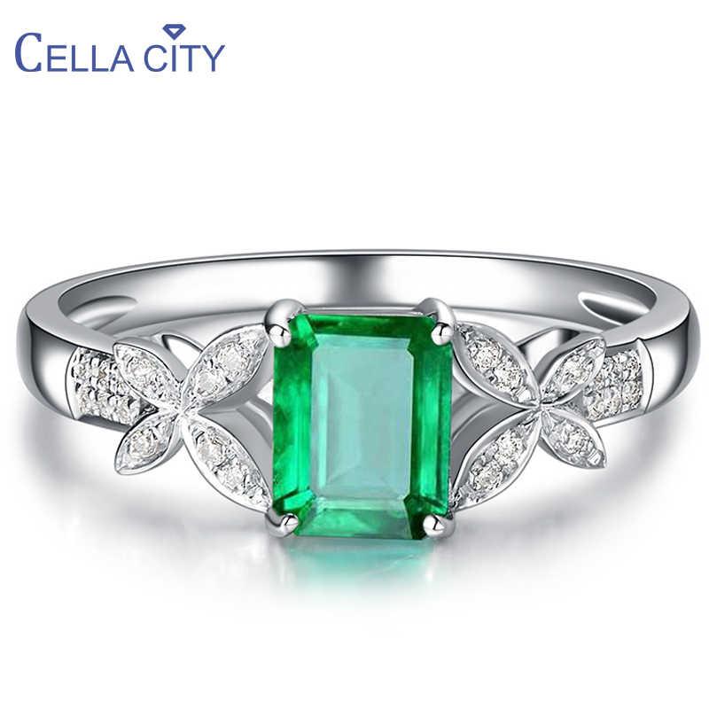 Целлюлозное кольцо 925 пробы с креативным прямоугольником Изумрудный камень серебро элегантные женские ювелирные изделия отрегулируйте размер Вечерние подарки оптом
