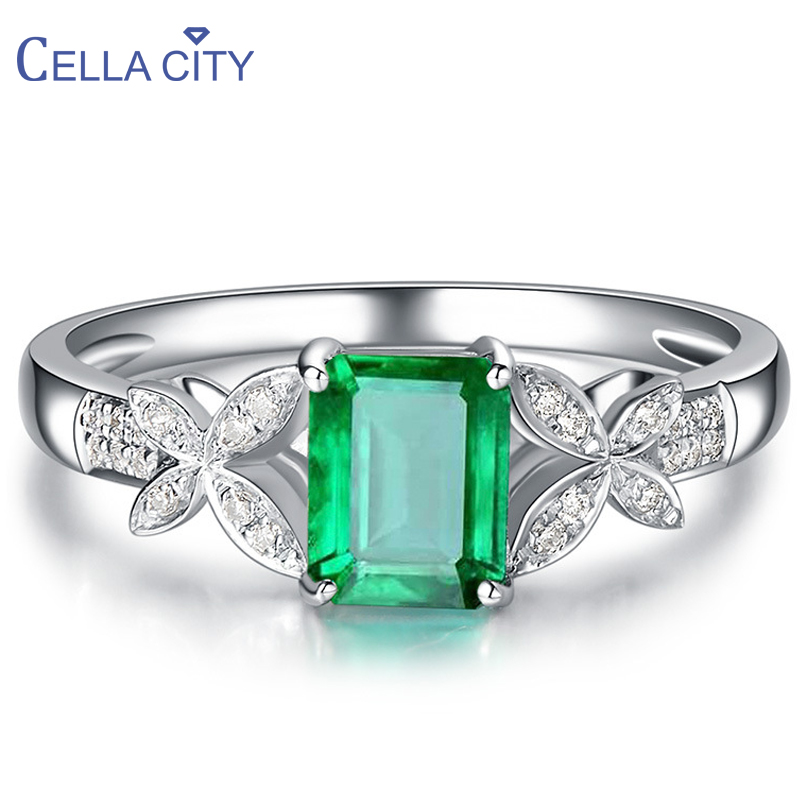 Cellacity 925 Silver Ring With Creative Rectangle Emerald Gemstone silver elegant lady Jewelry adjust size Party Gift Wholesale