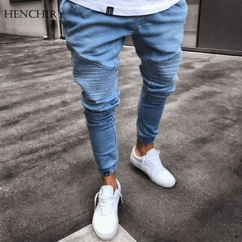 HENCHIRY New Mens Jeans Brand Trendy Blue Feet Tight Men's Jeans Skinny Jeans Men's Fashion Casual Skinny Black Jean Streetwear фото