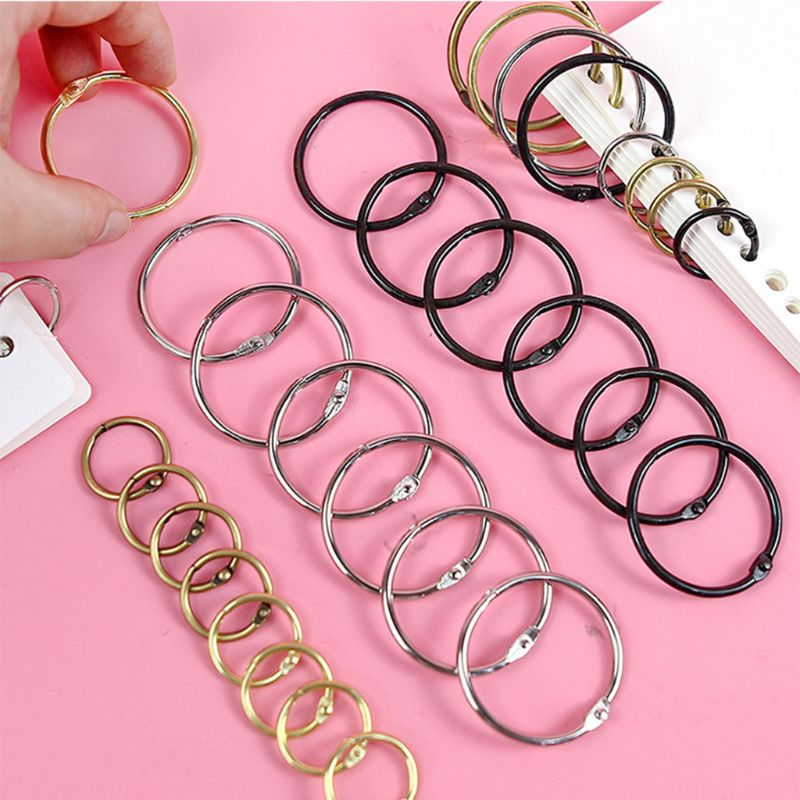 10PCS Metal Hinged Rings Loose Leaf Book Binder DIY Scrapbook Photo Album Split Keychain Art Craft Tools