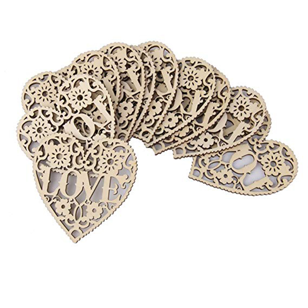 Ornaments-Supplies Pendant Wedding-Decorations Heart-Shape Hollow 10pcs Wood Festive