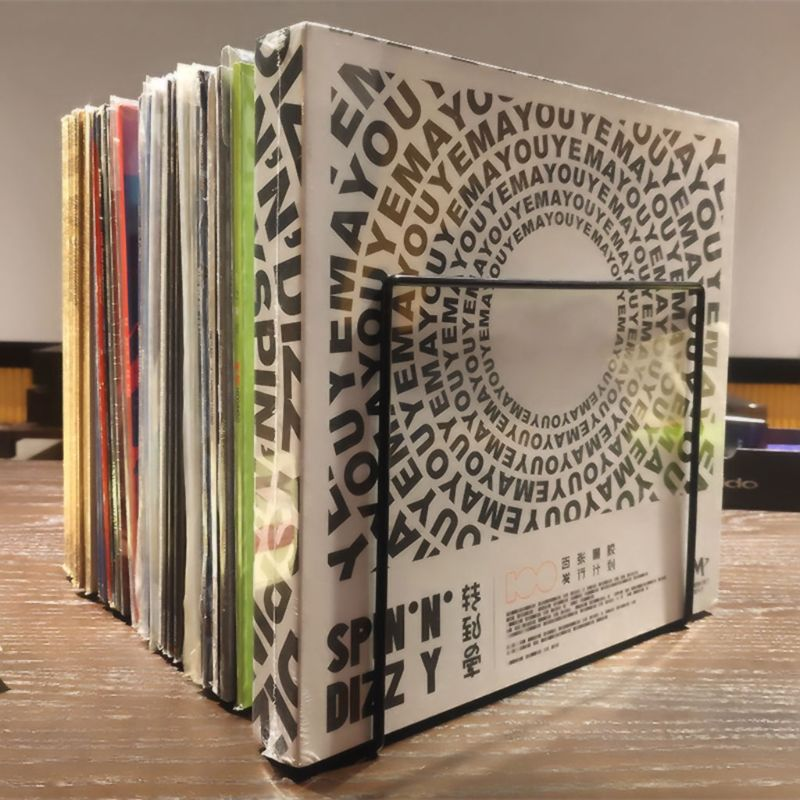 Metal LP Vinyl Record Display Shelf Turntable Storage Shelf Exhibit Stand Holder 95AF