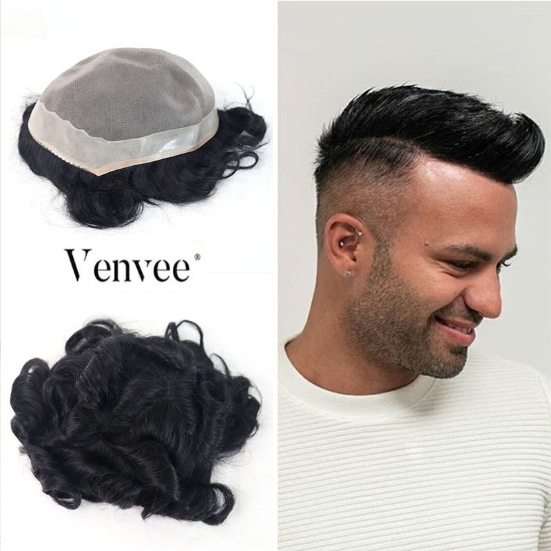 Hair Toupee Mono System Men Natural Looking 100% European Human Hair Toupee PU Replacement System 1# Color VenVee Remy