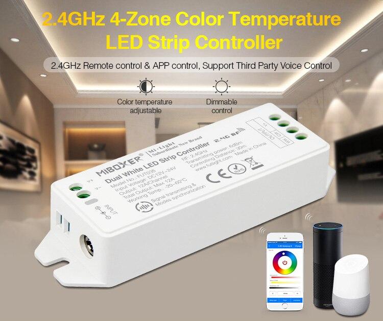 Miboxer 2,4 ГГц 4 зоны Цвет Температура Светодиодные ленты светильник контроллер, FUT035(обновленная) DC12V~ 24V двойной белый светодиодный светильник лента диммер - Цвет: FUT035 (Upgraded)