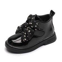 Новинка; зимние детские ботинки принцессы; Детские теплые ботильоны с бантом; мягкая Брендовая обувь для маленьких девочек; милые ботинки для малышей; модная обувь черного цвета