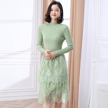 Autumn Spring Woman Slim Fit Knit Dress Lace Patchwork Rib Fabric Chic Knitted One Piece Women Green Black Burgundy Dresses Lady недорого