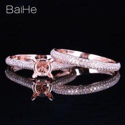 BAIHE stałe 10K różowe złoto nie główny kamień okrągły około 6-7mm zaręczyny ślub kobiety Trendy biżuterii prezent główny pierścień mecz zespół