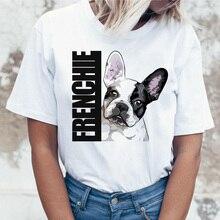 French Bulldog T Shirt Women female t-shirt top tee shirts femme cartoon Harajuku kawaii korean Funn