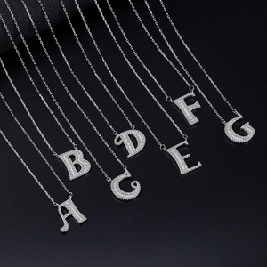 ANENJERY Silver Color Micro Zircon A-Z 26 English Initials Letter Necklaces For Women Name Necklace DIY Jewelry S-N436