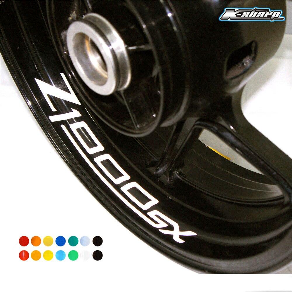 8 X Custon Inner Rim Decals Wheel Reflective Sign Stickers Stripes FIT KAWASAKI Z1000SX