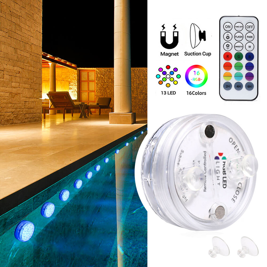 2020 Upgrade Magnet RGB Submersible Light IP68 13LEDs Underwater Night Lamp Outdoor Vase Bowl Pond Swimming Pool Decor Lamp