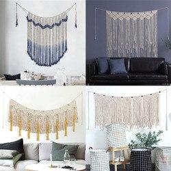 Makrama ścienna wisząca ręcznie tkana gobelin ścienny duża bawełniana boho weselny ściana tła dekoracja do salonu|Gobeliny|   -