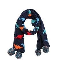 Шарф для маленьких мальчиков, зимний детский шарф с флисовой подкладкой и динозавром, Осенние вязаные теплые аксессуары, толстые акриловые длинные лыжные наружные шарфы