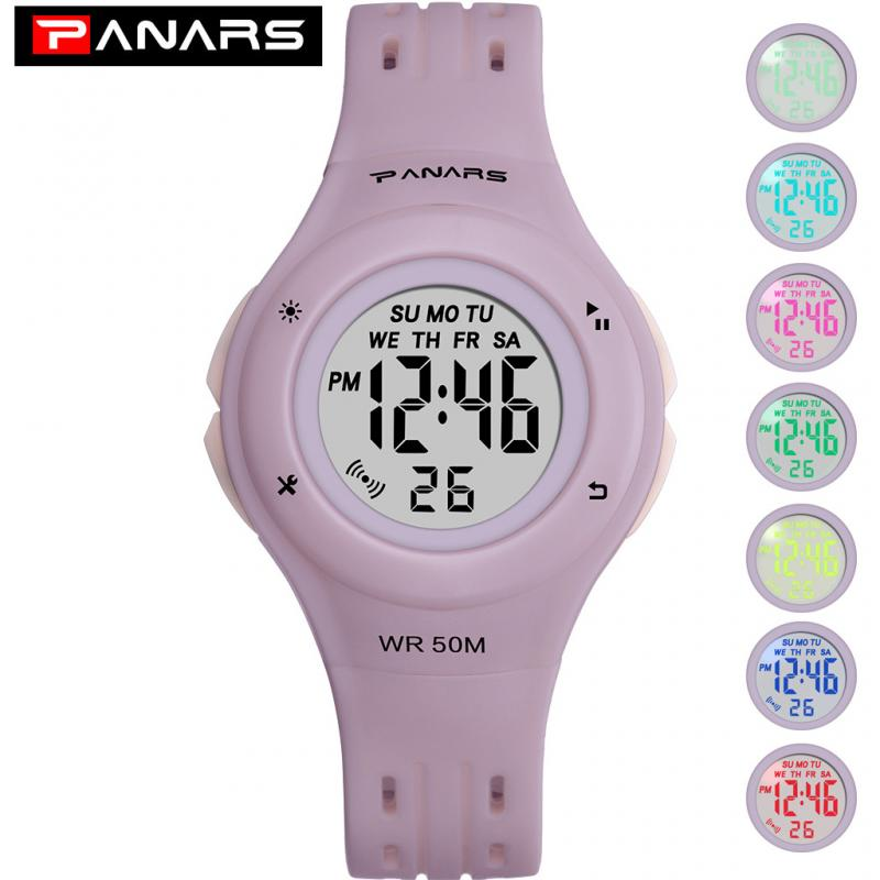 PANARS Brand Children Watches 2019 LED Digital Multifunctional Waterproof Wristwatches Outdoor Sports Watches For Kids Boy Girls