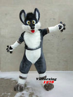 Cosplay Grey Dog Husky Fursuit Furry Mascot Costume Long Fur Suits Adults Size Party Dress Furry Halloween Xmas Party Costume