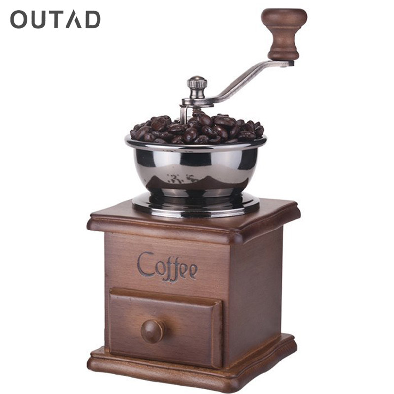 Wood Manual Coffee Grinder Hand Coffee Beans Grinding Machine, Hand Coffee Burr Mill Manual Bean Grinder Cafe Coffee Machine