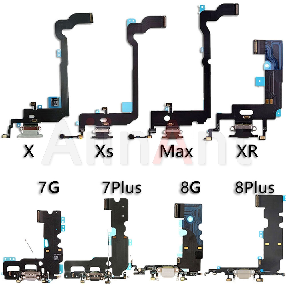 High Quality Bottom USB Charger Port Flex Cable For <font><b>iPhone</b></font> X Xs Max XR 7 <font><b>8</b></font> Plus 7G 8G Dock Charging <font><b>Connector</b></font> Microphone Flex image