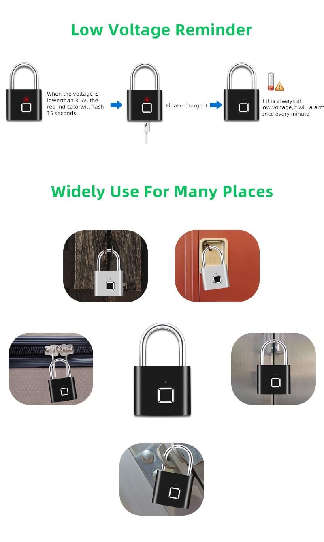 H00baf756dd85427792806cc5bf21d0d1c Thumbprint Door Padlocks Rechargeable Door Lock Fingerprint Smart Padlock Quick Unlock Keyless USB