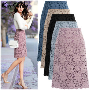 Bandage Skirt Pencil Lace Knee-Length Elegant High-Waist Womens Plus-Size Summer