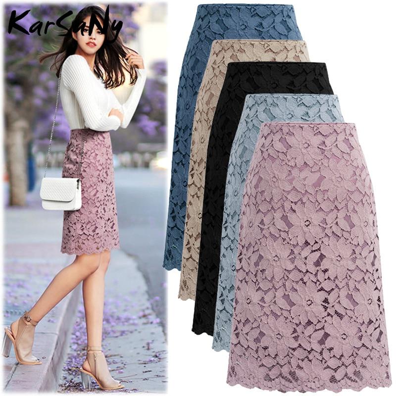 KarSaNy Lace Skirt Women Elegant Office Skirts Knee-length High Waist Bandage Skirt Pencil For Women Skirts Womens Summer