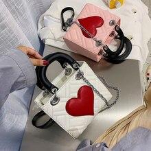 Маленькая женская сумка, новинка, Корейская женская сумка на цепочке, на одно плечо, косые сумки, модная сумка