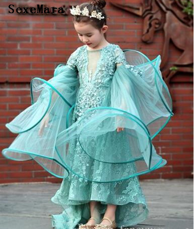 Lace Applique Hi-Lo 2019 Girls Birthday Dress with Sweep Train Special Occasion Kids Formal Wear Girl's Pageant Gown