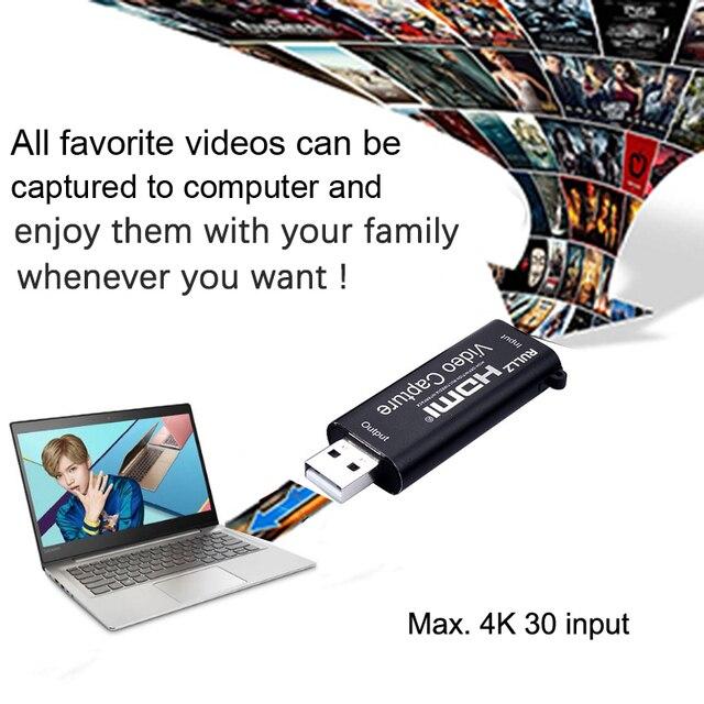 휴대용 USB 2.0 오디오 비디오 캡처 카드 HDMI 4K 1080P 수집 카드 PS4 XBOX 전화 PC 게임 녹음 라이브 브로드 캐스트