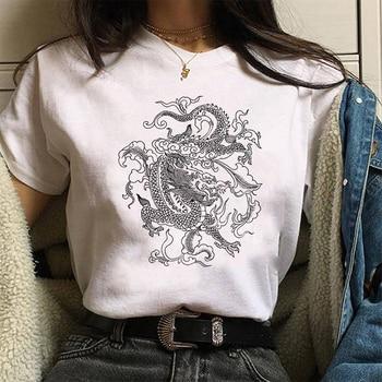 Women Ulzzang Harajuku Kawaii Chinese Dragon Print T Shirt Summer Graphic Tees Women's T-shirt Hip Hop Streetwear Tops,Drop Ship - discount item  50% OFF Tops & Tees