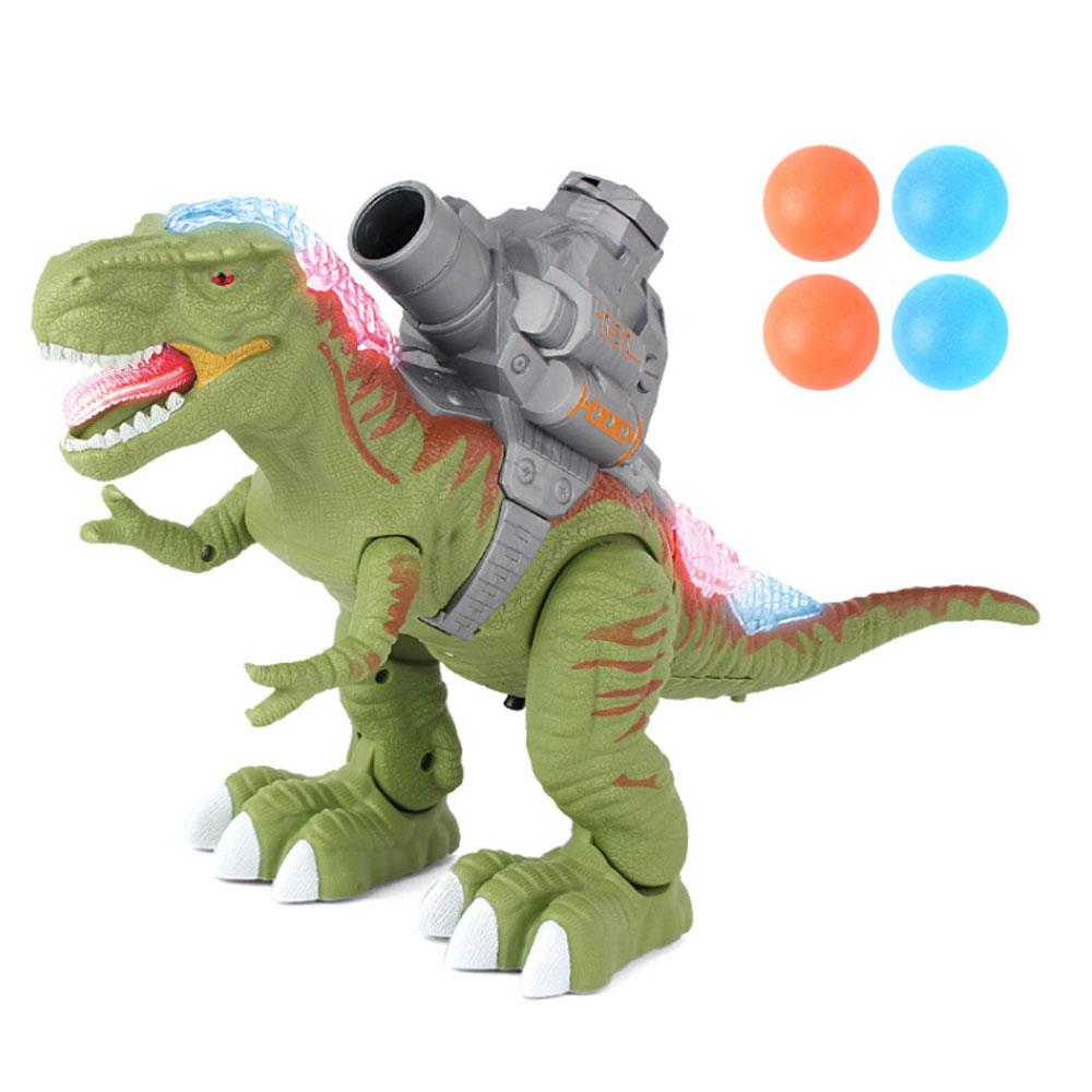 Electric Shooting Robot Mechanical Walking Dinosaur-Shaped Toy Children Dinosaur Model Roaring Toys With Light