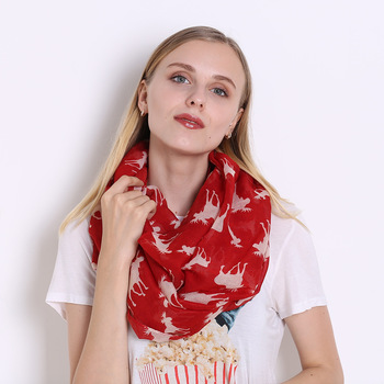2020 New Women Winter Ring Scarf Christmas Voile Printed Circle Scarves Ladies Neck Warmer Snood Scarves Infinity Foulard 2019 fashion women s voile infinity scarves lightweight elegant various floral print polyester ring thin sheer loop small scarf