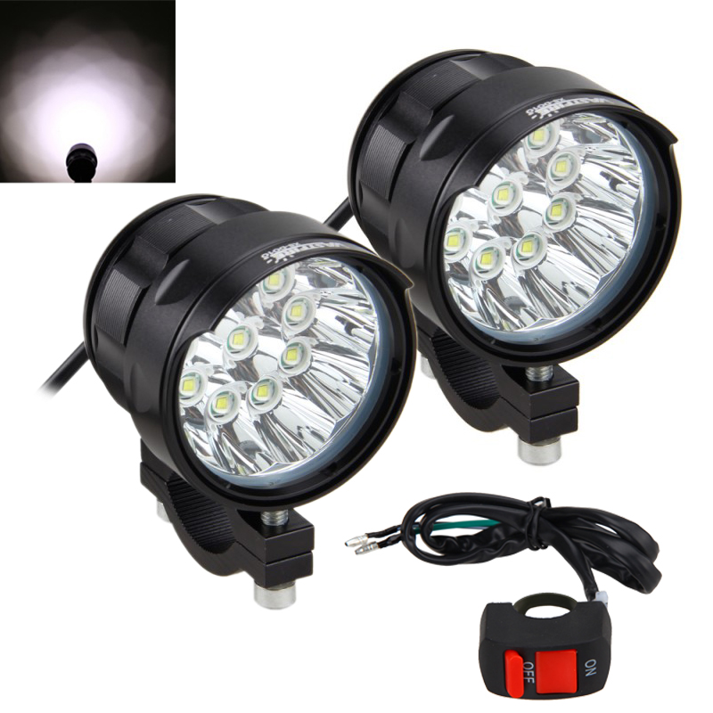 5Modes High Low Mid Strobe SOS 180W/Pair 7000LM/PC 10x XM-L T6 LED Motorcycle Headlight Spot Work Light Offroad Driving Fog Lamp