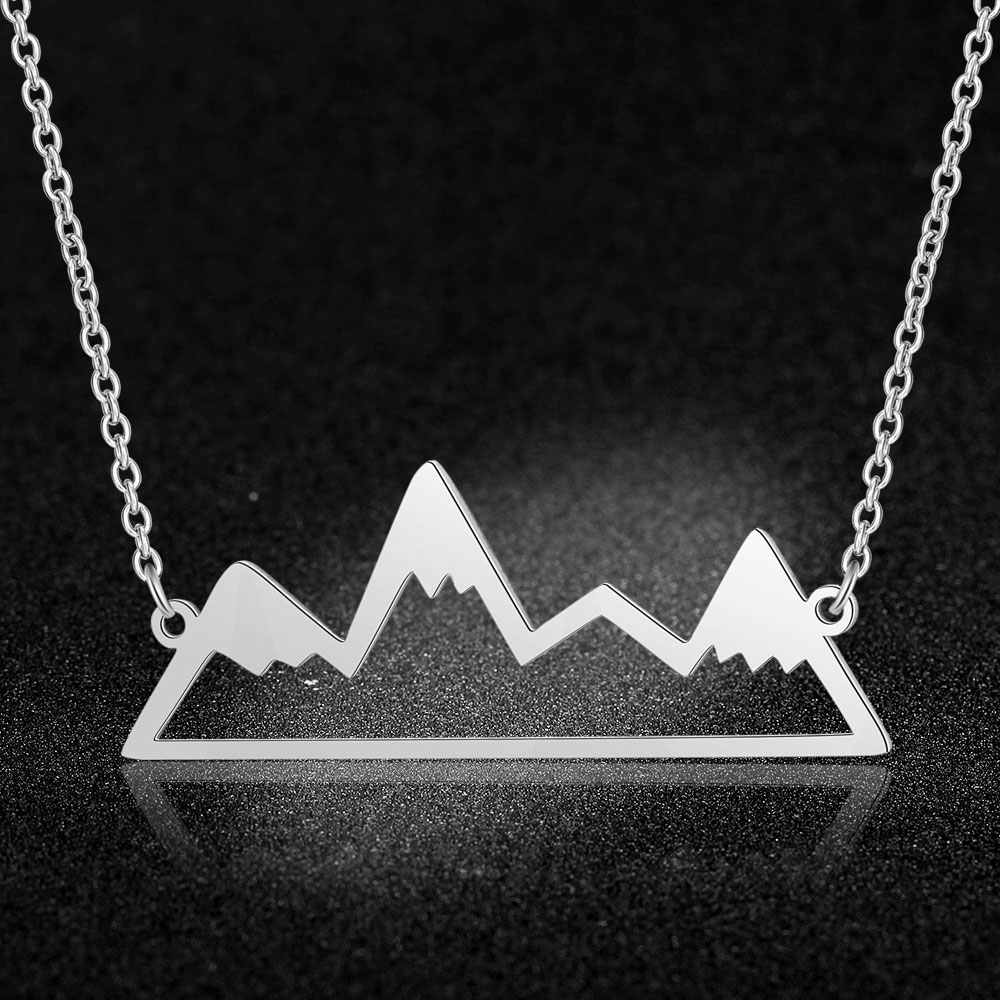 100% Real Stainless Steel Hollow Mountain Necklace Amazing Design Super Quality Jewelry Necklaces Fashion Pendant Necklaces