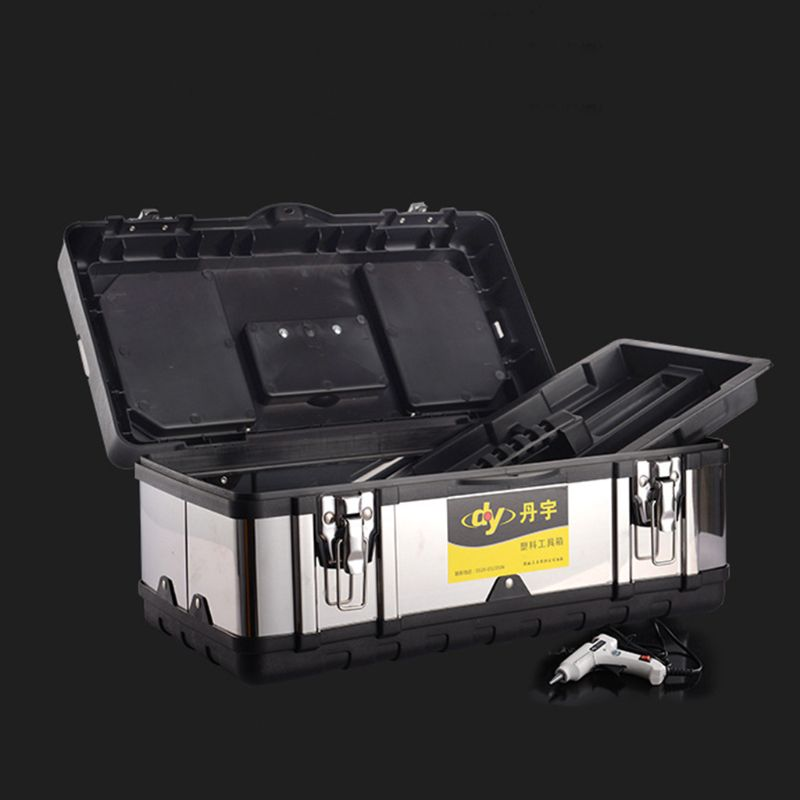 Multifunctional Double Layer Stainless Steel Tool Box Plastic Portable Organizer