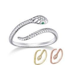 Bamoer Silber Vintage Gelb Gold Rose Gold Schlange Ring Einstellbare Finger Ringe Indische Retro Offenen Ring für Frauen Mode SCR666