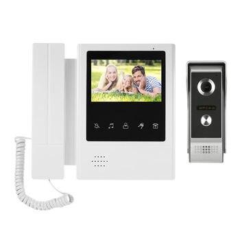 4.3Inch Contact Screen Wired Video Door Phone System Visual Intercom Doorbell 800X480 Monitor 700Tvl Outdoor Infrared Camera(Uk