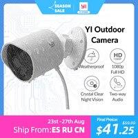 YI-cámara IP impermeable para exteriores, dispositivo de seguridad con visión nocturna, nivel IP65, 2,4G, WiFi, ranura para tarjeta SD integrada y almacenamiento en la nube