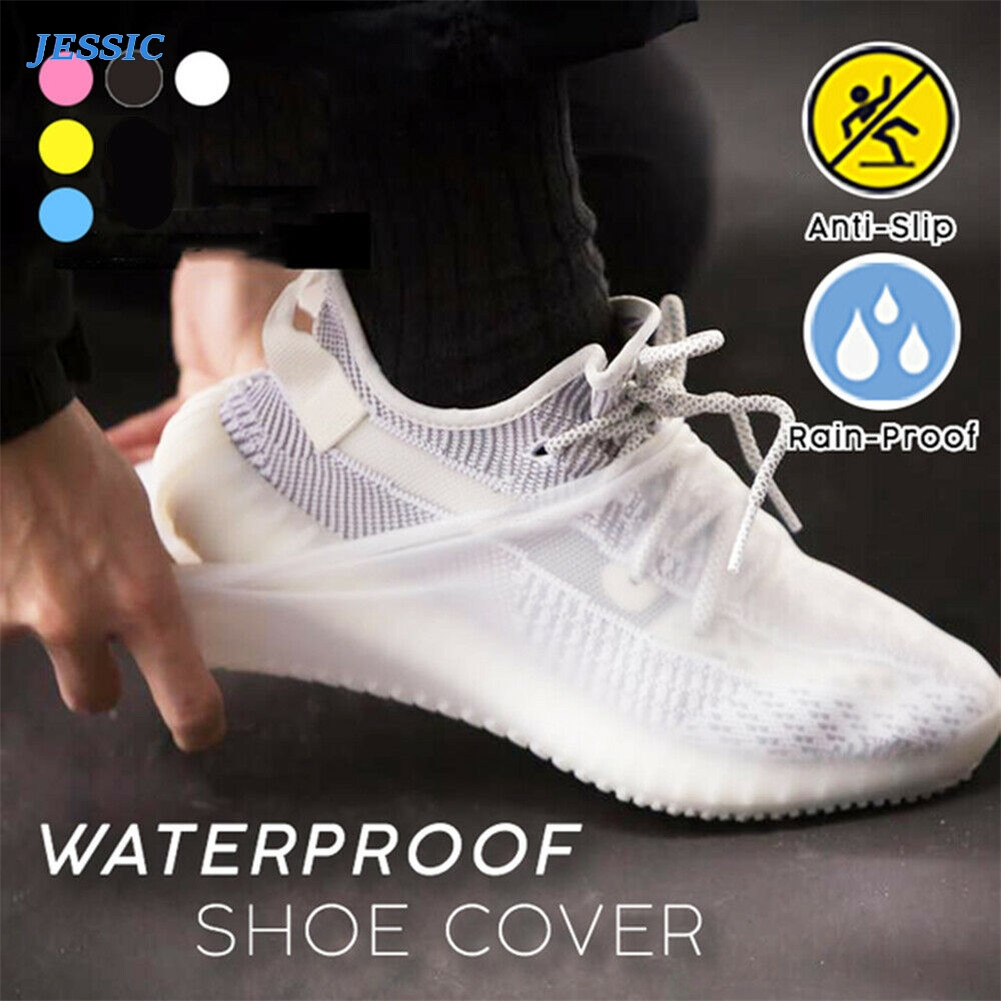 JESSIC New Waterproof Shoe Covers Cycling Rain Reusable Silicone Elastic Anti-Slip Protection For Outdoor