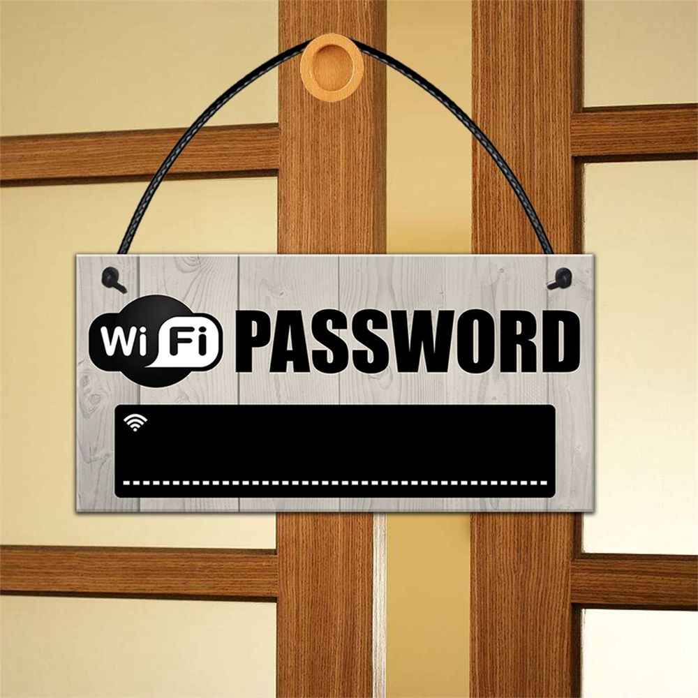 1pc Wooden WiFi Password Sign Chalkboard Hanging Plaques Coffee Bar Restaurant Accessories Home Party Decoration Sign(China)