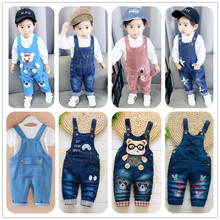 baby pants denim infant overalls 2019 autumn little children bib pants kids boys girls trousers for toddler cartoon longs jeans on AliExpress