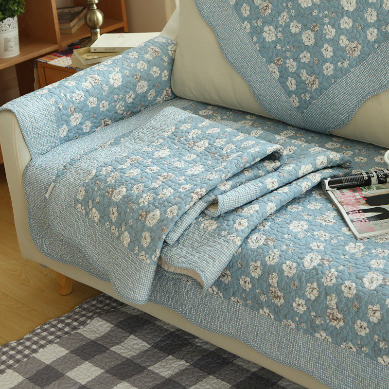Spring Summer Floral Pattern Sofa Cover Mat Pillow Fashion Comfortable Non-slip Sofa Back Towel L-shaped Sofa Furniture Case image
