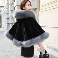 2019 new hooded cape cloak winter shawl coat fur coat female outerwear women coat black