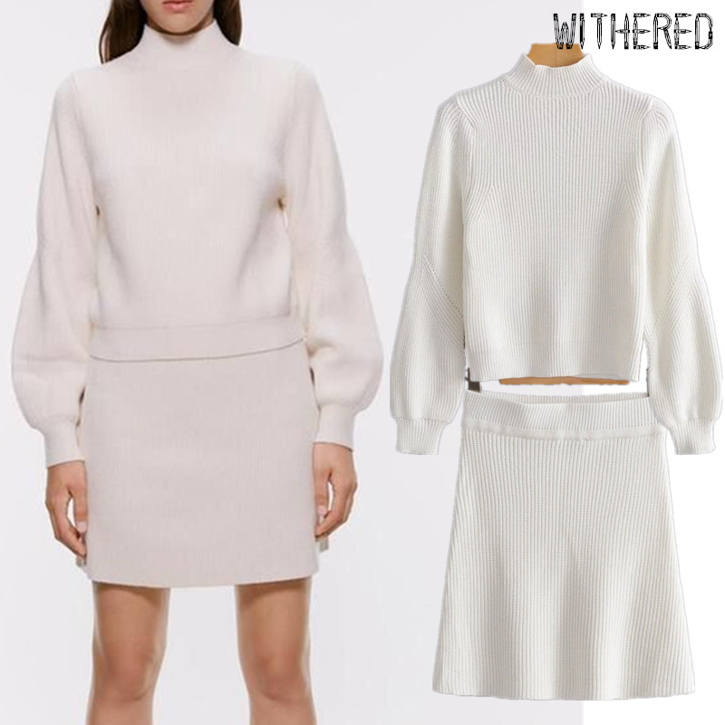 Withered Winter Sweaters Women Pull Femme Pullovers Tops Knitting Skirt Women Faldas Mujer Moda 2019 Skirts Womens 2 Pieces Set
