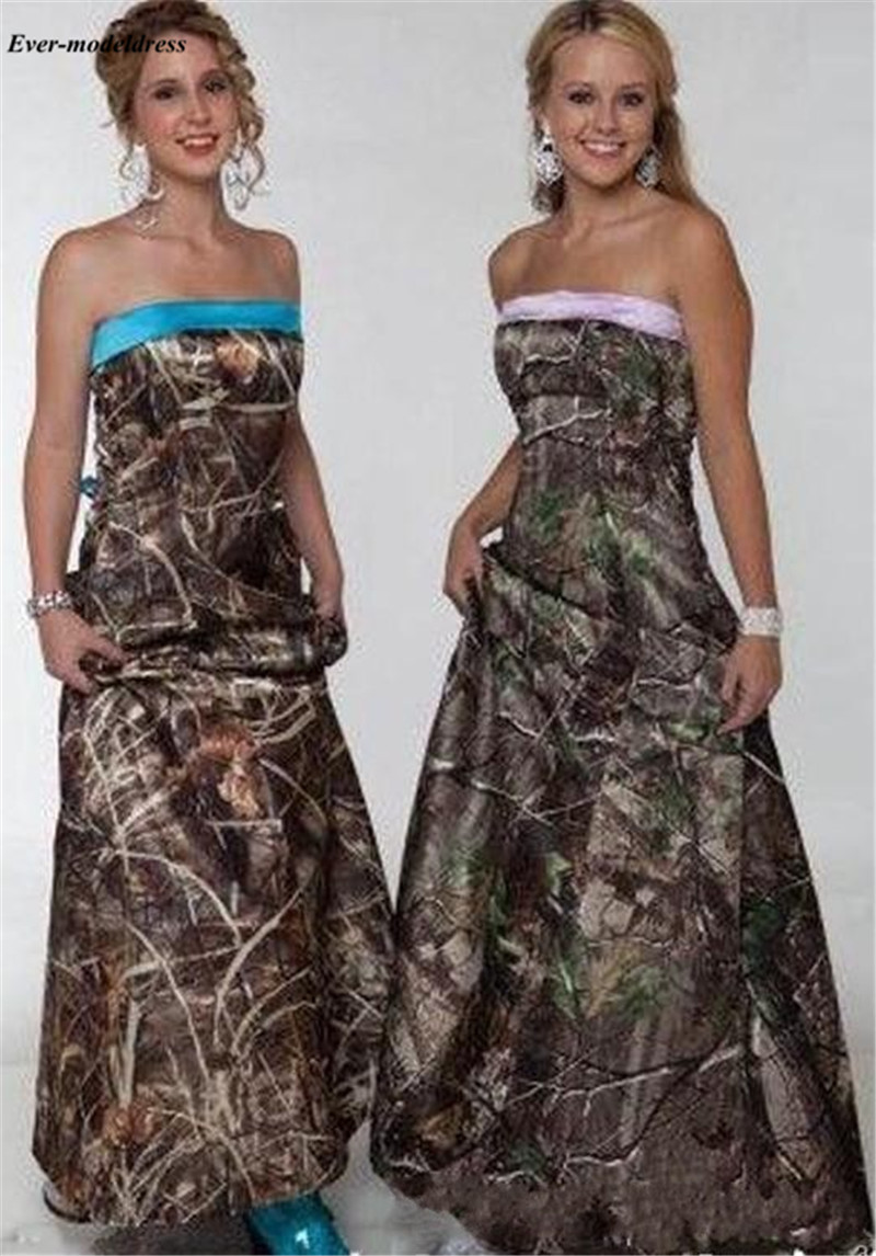 Camo   Bridesmaid     Dresses   Long Strapless Lace Up Back Plus Size Wedding Guest Gowns Maid of Honor   Dress   Cheap 2019