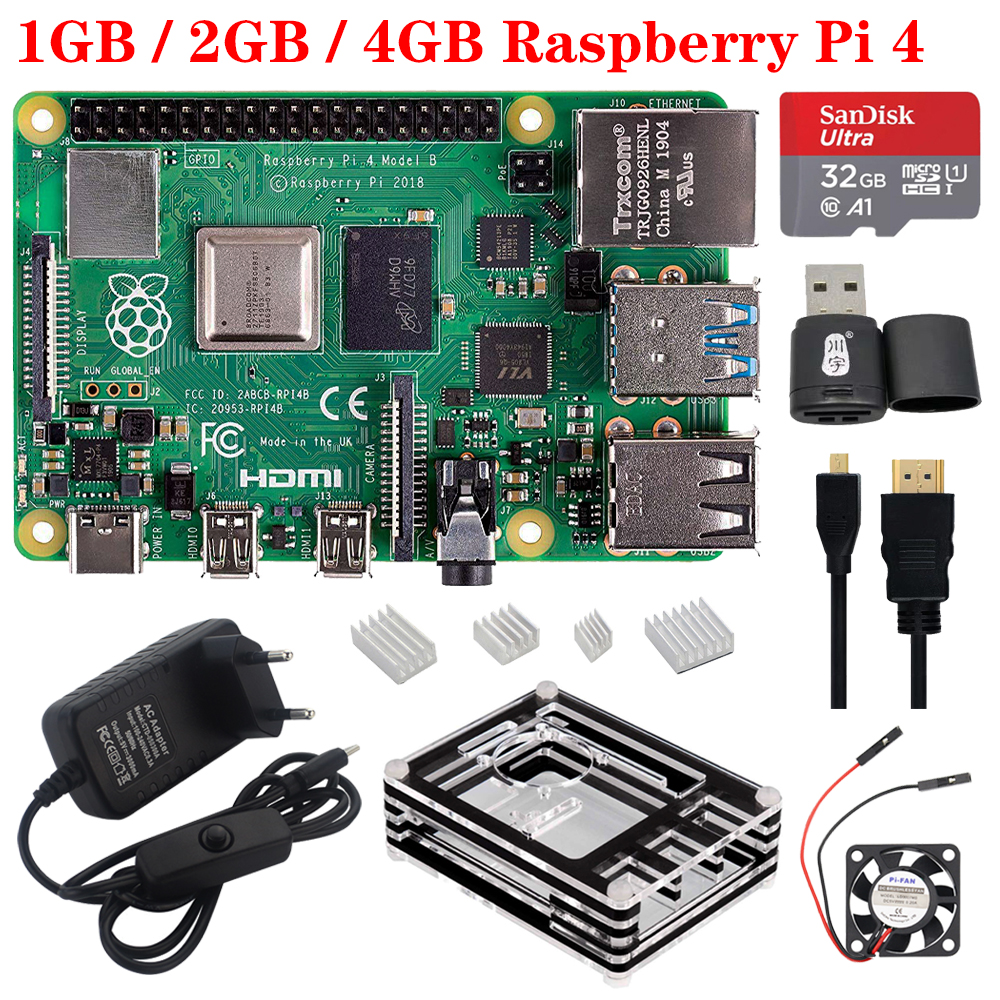 New Raspberry Pi 4 Model B 2.4G&5G WiFi Bluetooth 5.0 1G 2G 4G RAM + Rapberry Pi 4B Case Power Supply Better Than Raspberry Pi 3